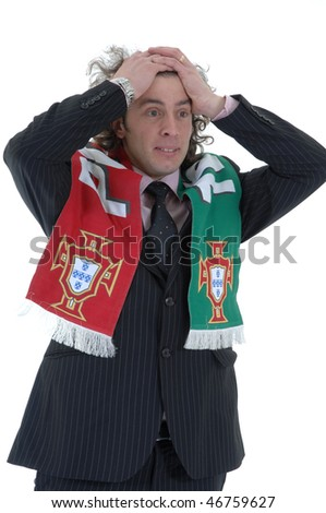 Portugal Soccer fan, isolated on white background - stock photo