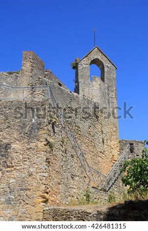 Portugal, Tomar. Detail of the ruined castle which protected the Convent of the Order of Christ and the town of Tomar. UNESCO World Heritage site. - stock photo