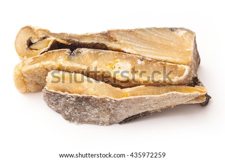Portugese Bacalhau ,salted codfish or salt cod isolated on a white studio background