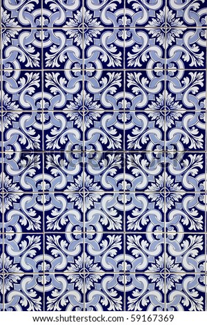 Portuguese blue tiles. - stock photo