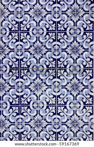 Portuguese blue tiles. - stock photo
