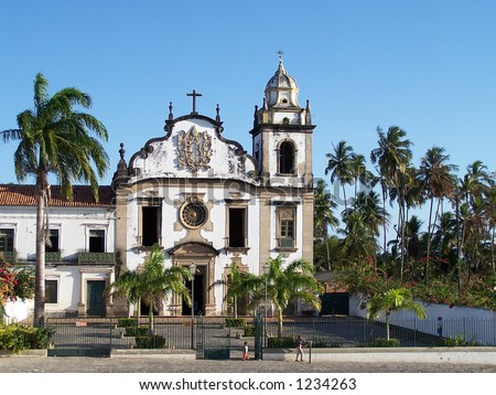 Portuguese church in Olinda, Brazil - stock photo