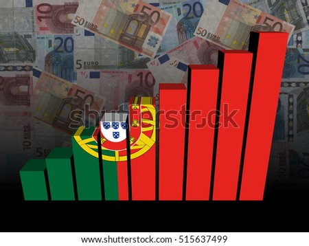 Portuguese flag bar chart over euros 3d illustration