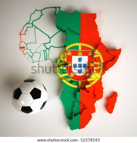 Portuguese flag on map of Africa with national borders