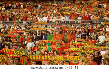 Portuguese Football Fans in a Stadium - stock photo