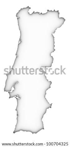 Portuguese map on a white background. Part of a series. - stock photo
