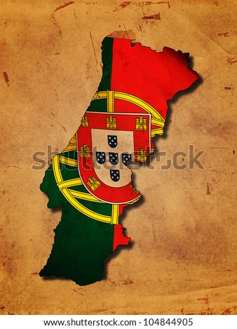 Portuguese map with flag over old paper - stock photo