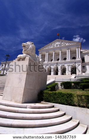 Portuguese Parliament (Sao Bento Palace) - The Palace has its origin in the first Benedictine monastery of Lisbon, established in 1598 - stock photo