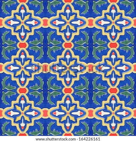 Portuguese Spanish Moroccan style vintage ceramic tile pattern - stock photo