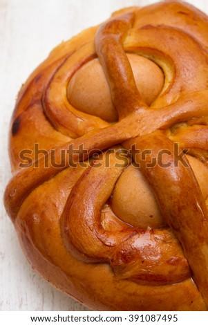 portuguese traditional Easter cake Folar on white background - stock photo