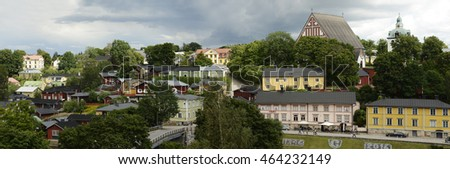 PORVOO, FINLAND - AUGUST 3, 2016: view of the ancient city Porvoo, panorama