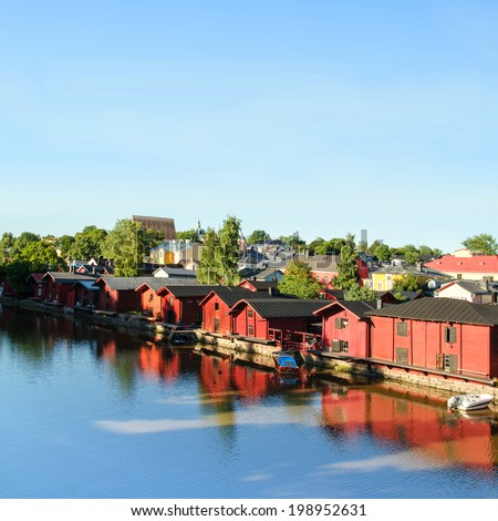 Porvoo, Finland. Old wooden red houses on the riverside  - stock photo