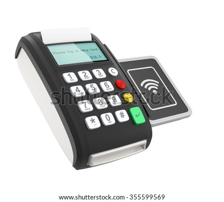 POS device with touch-less pad for nfc system. Smart cashless mobile payment concept.