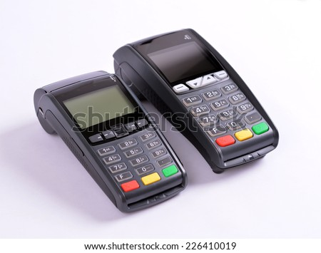 POS Payment GPRS Terminal, isolated on white   - stock photo