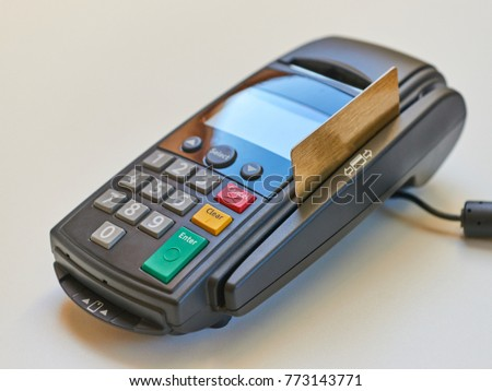 POS Payment Terminal, isolated on white background