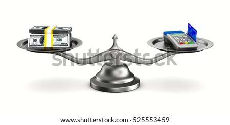 Pos terminal and money on scale. Isolated 3D image