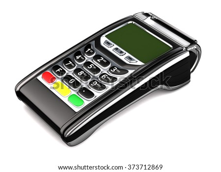 POS terminal. Isolated on white. 3d illustration