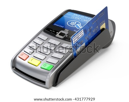 POS Terminal with credit card isolated on a white background. 3d render - stock photo