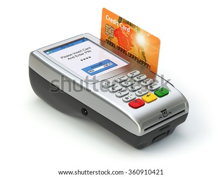 POS terminal with credit card isolated on white. Paying. 3d - stock photo