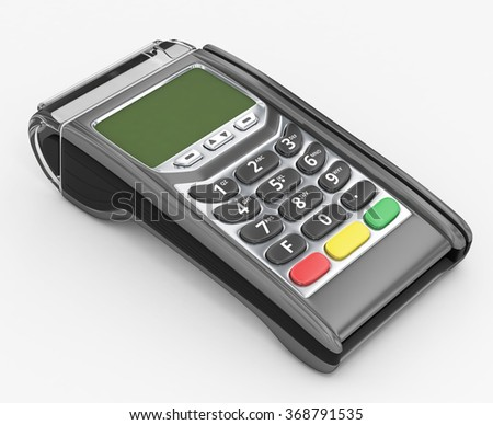 POS terminal with inserted credit card - 3D illustration - stock photo