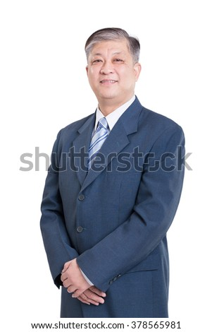 pose and gesture of old Asian businessman in blue suit - stock photo