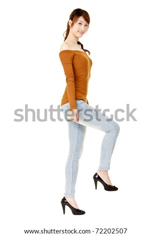 Pose of woman walking on stair, full length portrait isolated on white. - stock photo