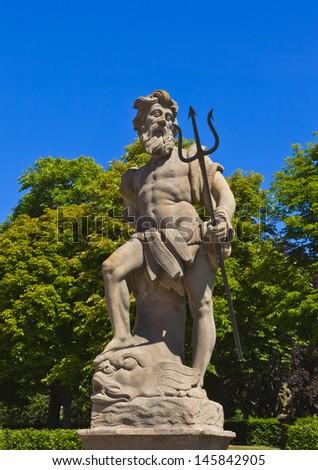 poseidon sculpture - stock photo