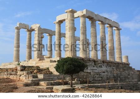 Poseidon Temple at Cape Sounion, Greece - stock photo