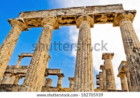 Poseidon Temple at Cape Sounion near Athens, Greece - stock photo