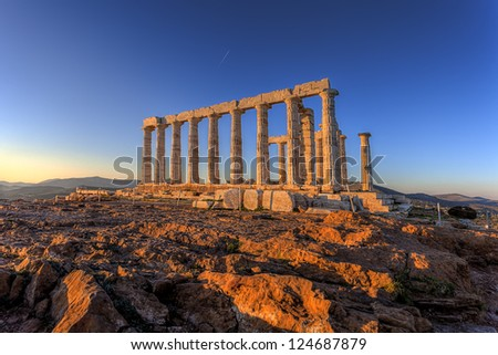 Poseidon Temple ,Cape Sounion, Greece - stock photo