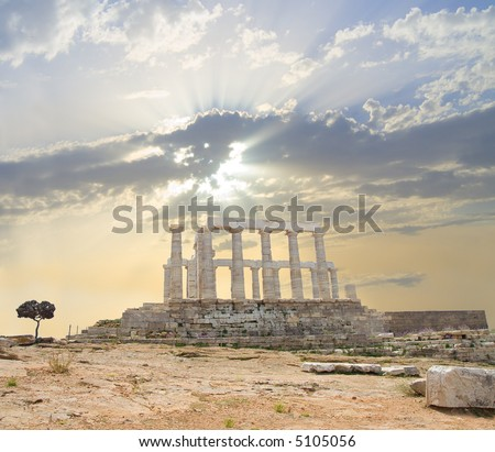 Poseidon Temple - Side - stock photo