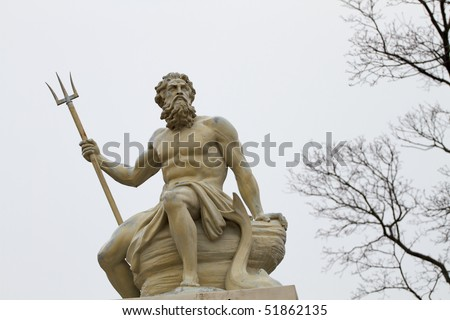 Poseidon was a major civic god of several cities and god of the seas. - stock photo