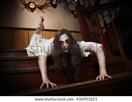 posessed demonical ghost girl in white dress - stock photo
