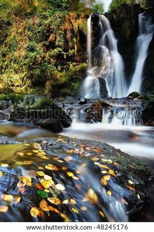 Posforth Gill waterfall in Yorkshire dales - stock photo