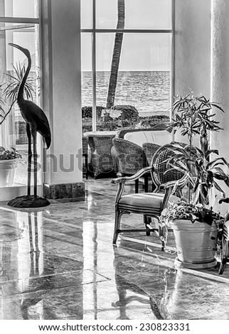 Posh black and white interior - stock photo