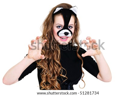posing beautiful cat-woman over the white - stock photo