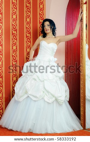 posing brunette bride at home with a little soft effect - stock photo