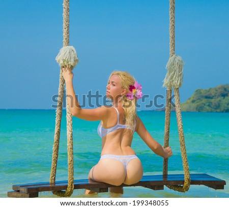 Posing Cute Summer Fun  - stock photo