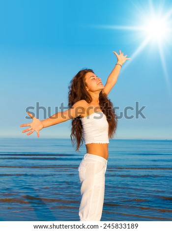 Posing Model Goddess I Stand  - stock photo