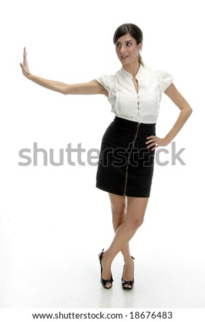 posing sexy woman on an isolated white background - stock photo