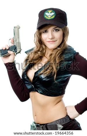 Posing with a gun - stock photo