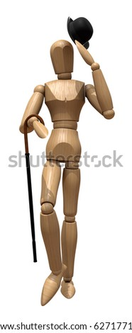 Posing wooden manikin with a cane and a hat on a white background