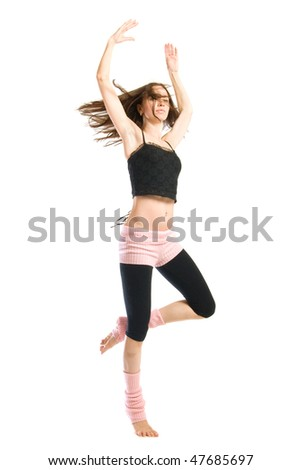 posing young dancer isolated on white background - stock photo