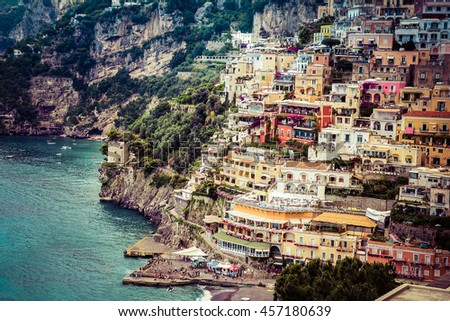positano amalfi coast - stock photo