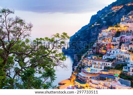 Positano, Amalfi Coast, Italy. Sunset over the beautiful sea - stock photo