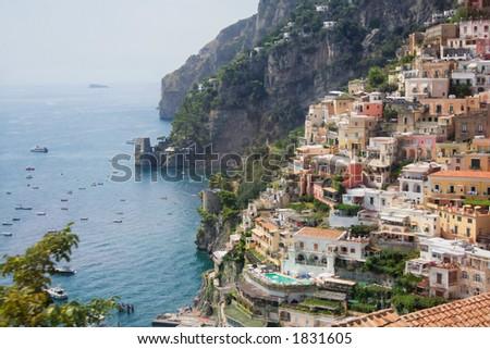 Positano city, on the Amalfi Coast of Italy - stock photo