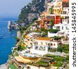 Positano, italy. Amalfi Coast and seascape - stock