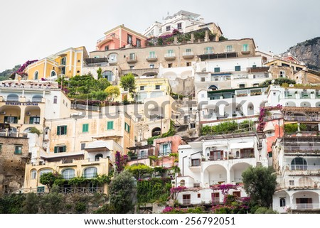 Positano, Italy - July 21: View of the town of Positano. Positano is one of the towns of the Amalfi Coast,expensive and most beautiful European resort, on July 21, 2014