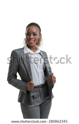 Positive african business woman portrait, isolated on white background - stock photo