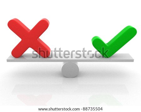 positive and negative check marks on seesaw - 3d render illustration